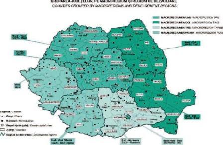 Turismul Romaniei pe regiuni de dezvoltare